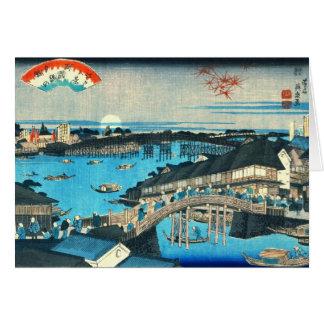 Evening Glow Ryogoku Bridge 1844 Card
