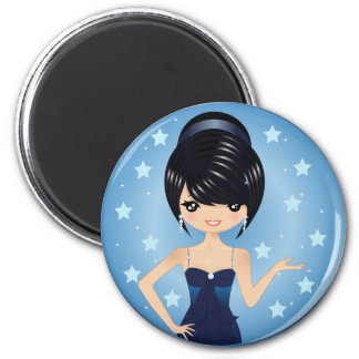 Evening Gown 2 Inch Round Magnet