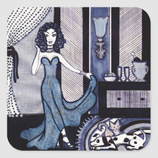 Evening Gown Square Sticker