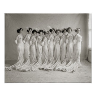 Evening Gowns, 1910. Vintage Photo Poster