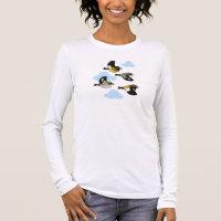 Evening Grosbeaks in flight Women's Basic Long Sleeve T-Shirt