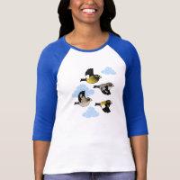 Evening Grosbeaks in flight Ladies Raglan Fitted T-Shirt
