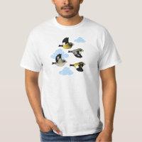 Evening Grosbeaks in flight Men's Crew Value T-Shirt
