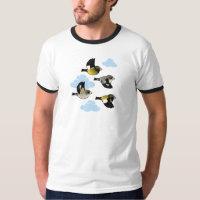 Evening Grosbeaks in flight Men's Basic Ringer T-Shirt