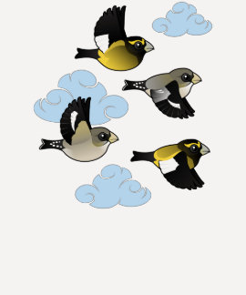 Evening Grosbeaks in Flight Tshirts