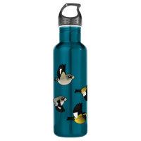 Evening Grosbeaks in flight Water Bottle (24 oz)