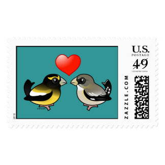 Evening Grosbeaks in Love Postage Stamps