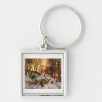 Evening Hours Silver-Colored Square Keychain