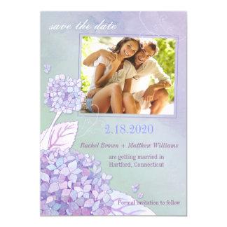 "Evening Hydrangeas Floral Photo Save the Date 5"" X 7"" Invitation Card"