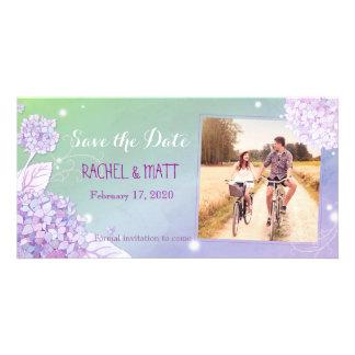 Evening Hydrangeas Wedding Photo Save the Date Personalized Photo Card