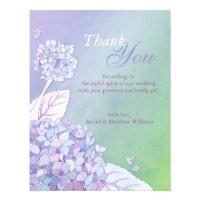 Evening Hydrangeas Wedding Thank You Flat Cards Invite