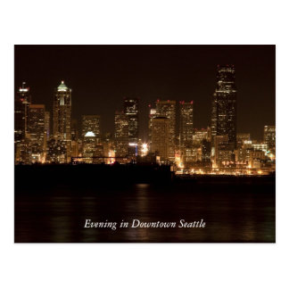 Evening in Downtown Seattle Postcard