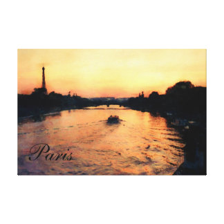 Evening in Paris Sunset on the Seine Photo Art Stretched Canvas Prints