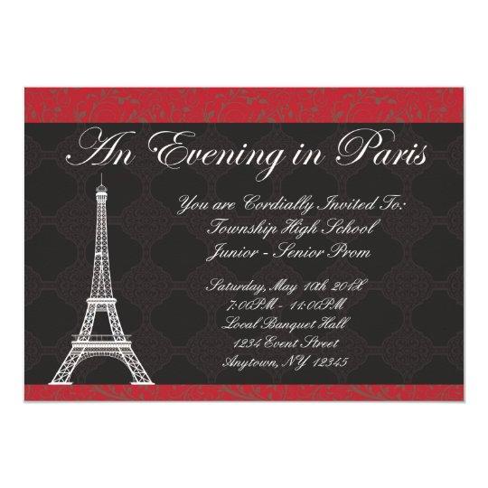 Evening In Paris Theme Prom Invitations