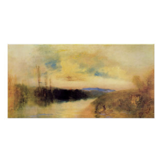 Evening landscape by Joseph Mallord Turner Poster