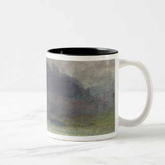 Evening Landscape with Castle and Bridge in Yorksh Two-Tone Coffee Mug