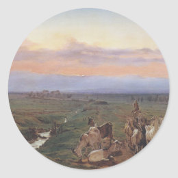 Evening landscape with herd of goats by Ferdinand Classic Round Sticker