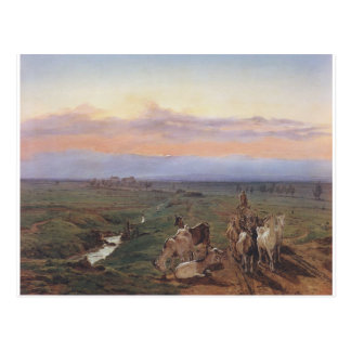 Evening landscape with herd of goats by Ferdinand Postcard
