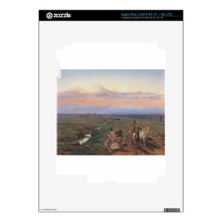 Evening landscape with herd of goats by Ferdinand Skins For iPad 3