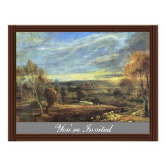 Evening Landscape With Shepherd And Flock Custom Invitation