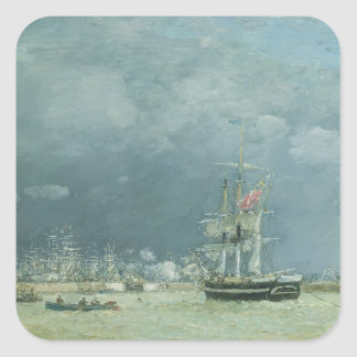 Evening, Le Havre, 1866 (oil on canvas) Square Sticker