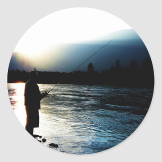 Evening Light Fisherman Round Sticker