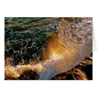 EVENING LIGHT WITH BREAKING WAVES AT THE OCEAN GREETING CARDS