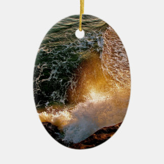 EVENING LIGHT WITH BREAKING WAVES AT THE OCEAN CERAMIC ORNAMENT