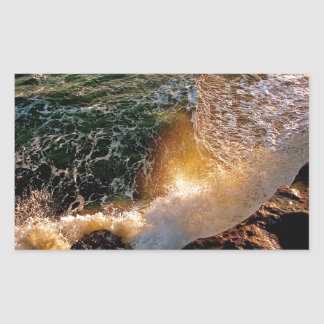 EVENING LIGHT WITH BREAKING WAVES AT THE OCEAN RECTANGULAR STICKER