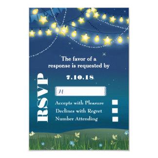 Evening Meadow String Lights Wedding RSVP Card