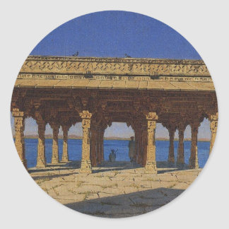 Evening on the lake. One of the pavilions Classic Round Sticker