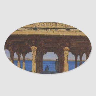 Evening on the lake. One of the pavilions Oval Sticker