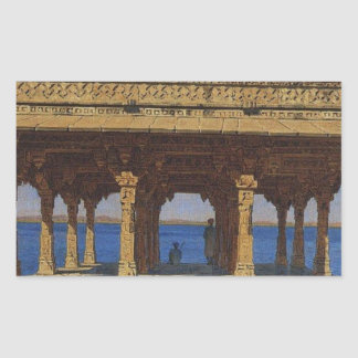 Evening on the lake. One of the pavilions Rectangular Sticker
