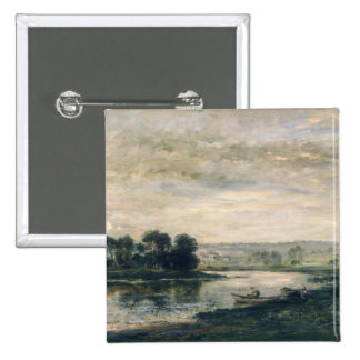 Evening on the Oise, 1872 2 Inch Square Button