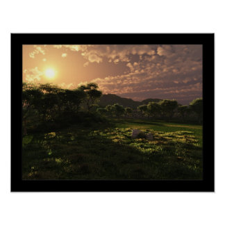 Evening Orchard Poster