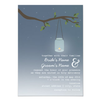 Evening Outdoor Wedding - Mason Jar With Candle 5x7 Paper Invitation Card
