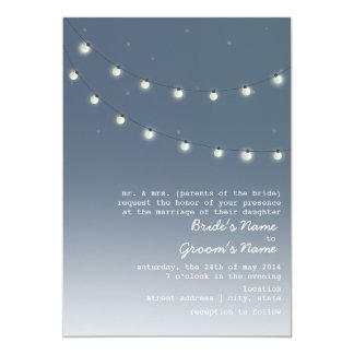 "Evening Outdoor Wedding - String Of Lights 5"" X 7"" Invitation Card"