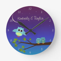 Evening Owls Wall Clock