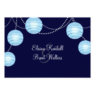Evening Party Lanterns RSVP in Blue Personalized Invite
