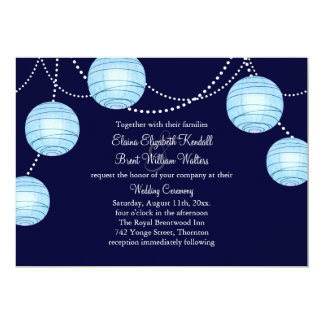 "Evening Party Lanterns Wedding Invitation in Blue 5"" X 7"" Invitation Card"
