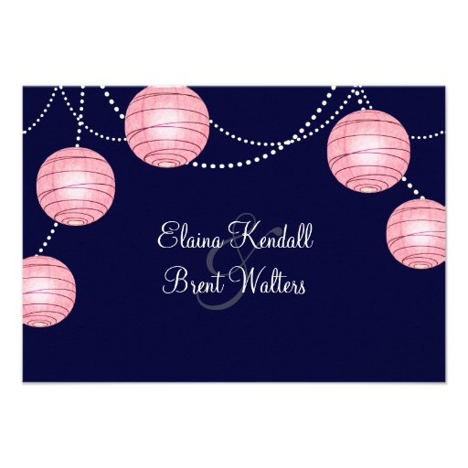 Evening Pink Party Lanterns RSVP Personalized Invite