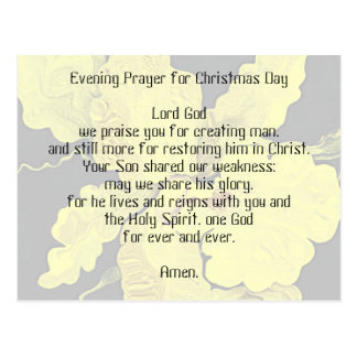 evening prayer for Christmas Day Postcard