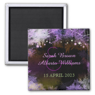 Evening Purple Forest Wedding Save the Date 2 Inch Square Magnet