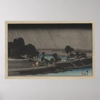 Evening Rain at Azuma Shrine Posters