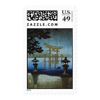 Evening Rain Japanese Art Woodblock Ukiyo-E Postage Stamps