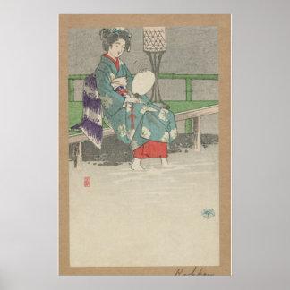 Evening Rain - Japanese Vintage Art - pre-1900s Poster