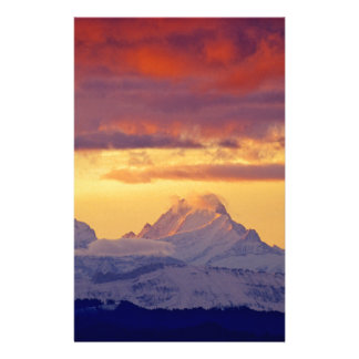 Evening-red in Bernese the alps CH-Switzerland Stationery