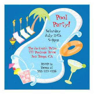 Evening Retro Pool Party Invitations