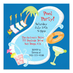 Evening Retro Pool Party Invitations