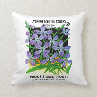 Evening Scented Stocks Flowers Seed Packet Label Throw Pillow